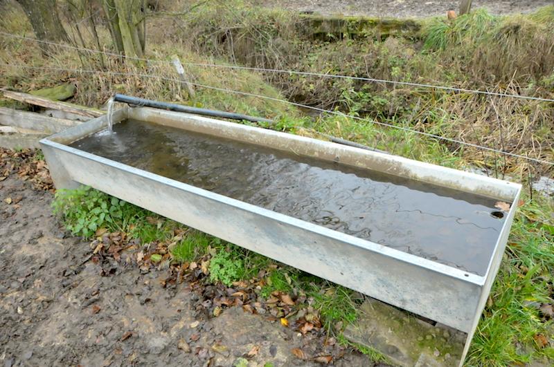 33524 pozinkovaný žlab použitý pro nápájení na pastvině spádovou vodou z potoka. Přepadová trubka ve výpustní zátce zajišťuje výšku hladiny