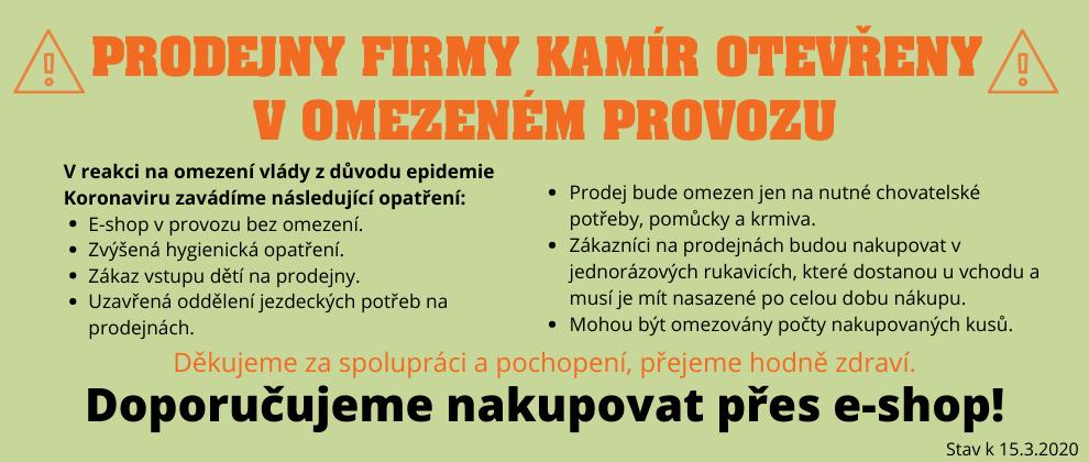Omezení provozu prodejen Kamír v rámci mimořádných opatření proti šíření Koronaviru