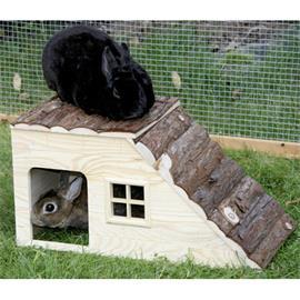 Domek pro hlodavce s rampou (pro králíčky, morčata, fretky, činčily)