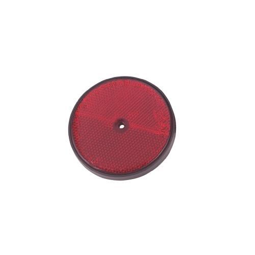 Odrazka na přívěsný vozík - kulatá, 1 díra - červená