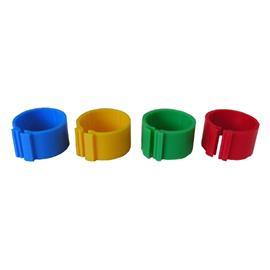 Kroužky na slepice rozlišovací 16mm, klip, 1 ks - červená
