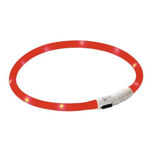 Svítící LED obojek pro psa, 55 cm - červený 4746 Obojek reflexní, svítící LED, červený, 55 cm