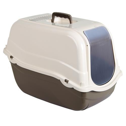 Krytý kočičí záchod Minka s dvířky a filtrem, hnědý, 57x39x41 cm