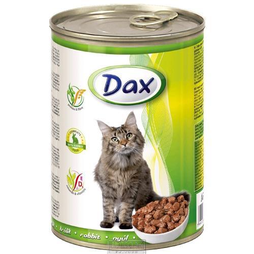 Konzerva pro kočky DAX, kousky králík, 415 g