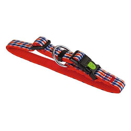 Obojek pro psa, nylonový, červená kostka - 45 - 65 cm