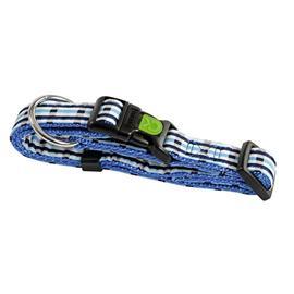 Obojek pro psa, nylonový, modrá kostka - 30 - 45 cm