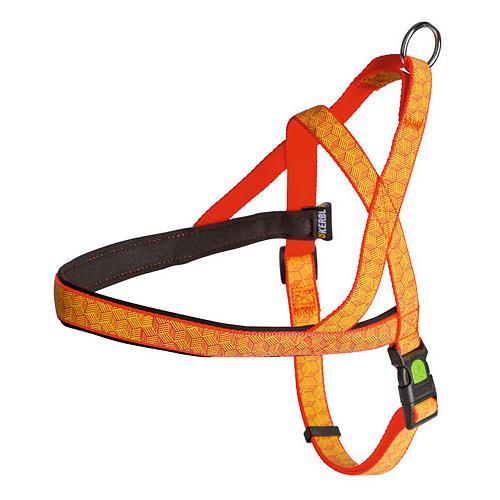 Postroj na psa, reflexní, oranžový - 70 - 90 cm