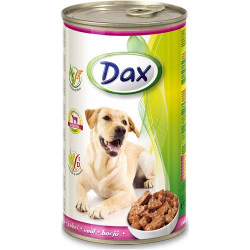 Konzerva pro psy DAX, kousky telecí, 1240 g
