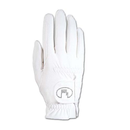 Jezdecké rukavice Roeckl Lisboa Swarowski, bílé - vel. 6