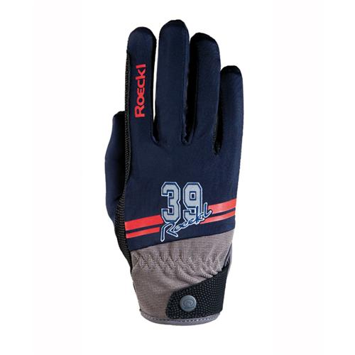 Jezdecké rukavice Roeckl Mayfair, modré - vel. 6