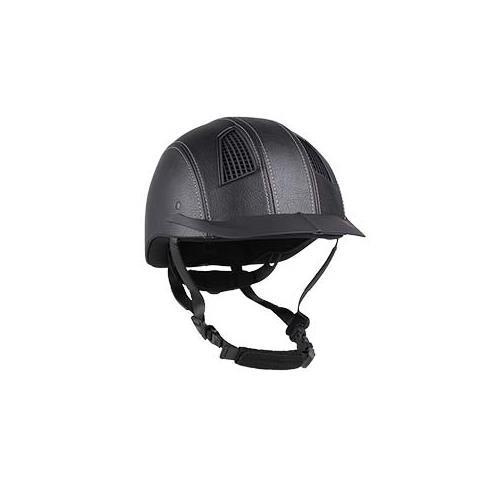 Jezdecká bezpečnostní přilba QHP Spartan, kožená černá - vel. S