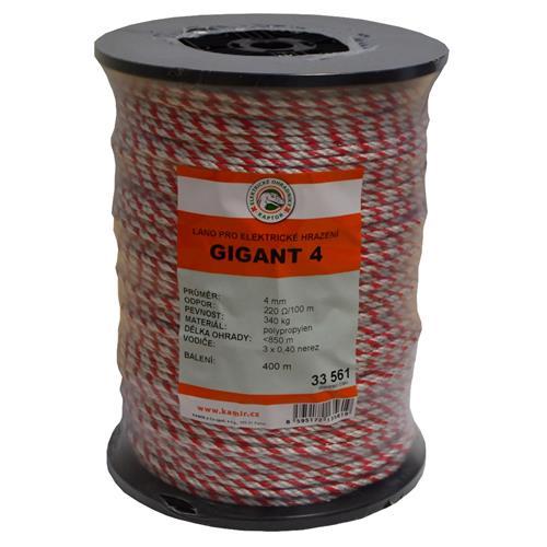 Polypropylenové lano pro elektrické ohradníky 4 mm GIGANT 4 Polypropylenové lano pro elektrické ohradníky 4 mm GIGANT 4
