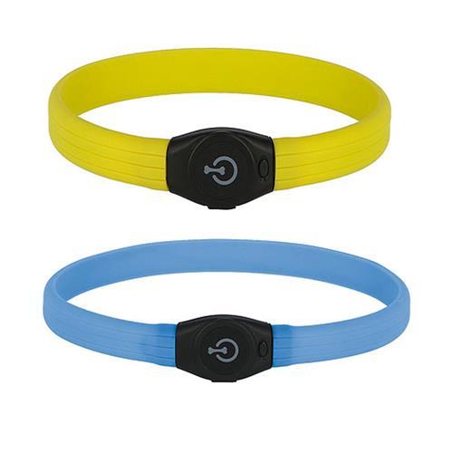 Obojek pro psa reflexní, svítící LED, 65 cm  x 1,5 cm - žlutý