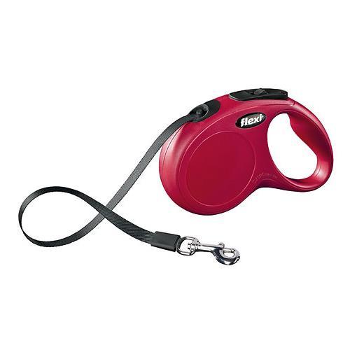 Vodítko Flexi M, páska, 5 m, do 25 kg - červené Vodítko FLEXI Classic NEW M/L pásek 5m/25kg červená