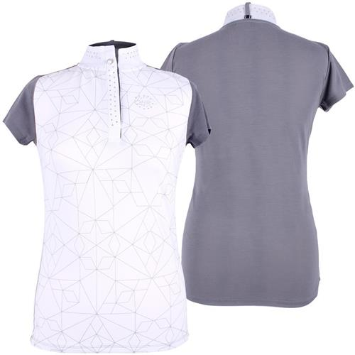Dámské závodní triko QHP Lexi - šedo-bílé, vel. 34 Triko dámské QHP Lexi, šedo-bílé