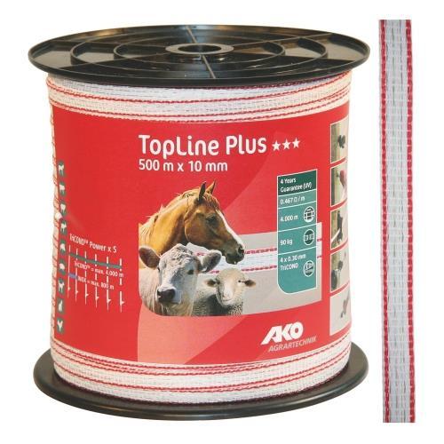 Polyetylenová páska pro elektrické ohradníky TopLine Plus 10 mm, bílá s červenou, 500 m Polyetylenová páska pro elektrické ohradníky TopLine Plus 10 mm