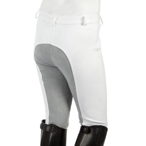 Dětské závodní rajtky Pfiff, bílé s šedým sedem - 164 Dětské závodní rajtky s plným sedem, bílé