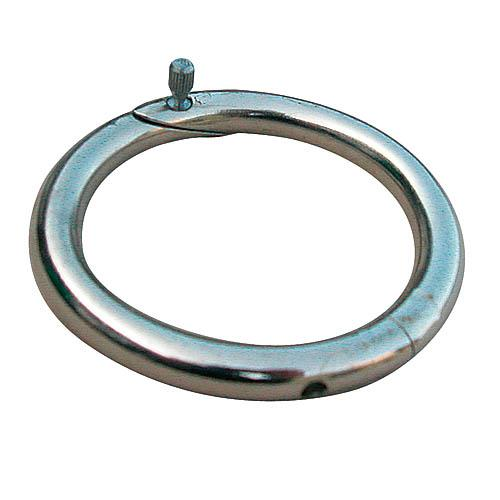 Kroužek nosní 59 mm, ocelový, poniklovaný Kroužek nosní, kovový, otočný