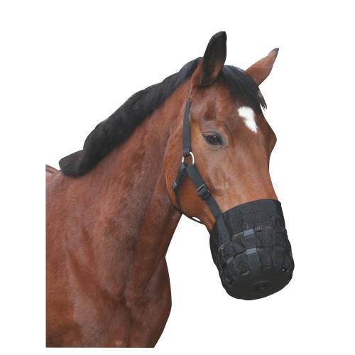 Nylonový náhubek pro koně s ohlávkou, černý - vel. Cob Náhubek pro koně s ohlávkou, nylon