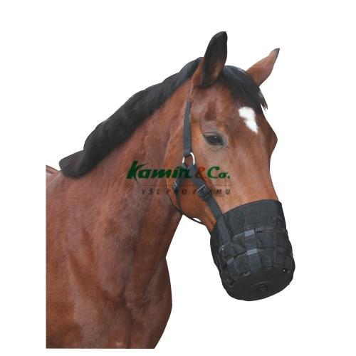 Nylonový náhubek pro koně s ohlávkou, černý - vel. Full Náhubek pro koně s ohlávkou, nylon