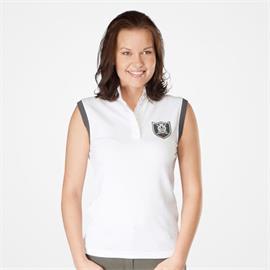 Dámské závodní triko Horze bez rukávů, bílé s erbem