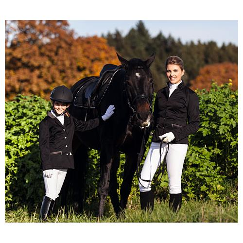 Dětské jezdecké sako Covalliero, černé - 152/158 Foto s koněm Sako jezdecké, softshell, dětské, černé 152/158