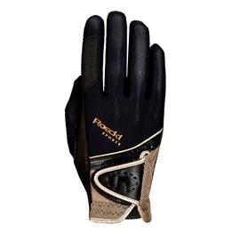 Jezdecké rukavice Roeckl Madrid, černo-zlaté - vel. 7,5