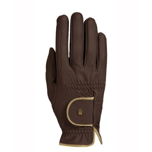 Jezdecké rukavice Roeckl Lona, hnědo-zlaté - vel. 7,5 Rukavice Roeckl Lona, hnědo-zlaté, vel. 7,5