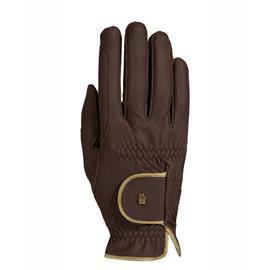 Jezdecké rukavice Roeckl Lona, hnědo-zlaté - vel. 7,5