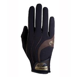 Jezdecké rukavice Roeckl Malia, černé-moka - vel. 9,5
