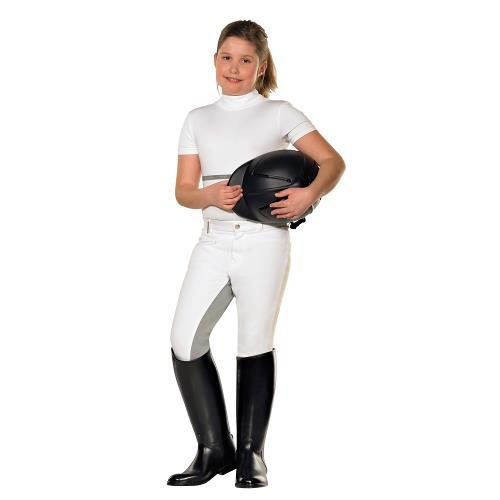 Dětské závodní rajtky Pfiff, bílé s šedým sedem - 152 Dětské závodní rajtky s plným sedem, bílé