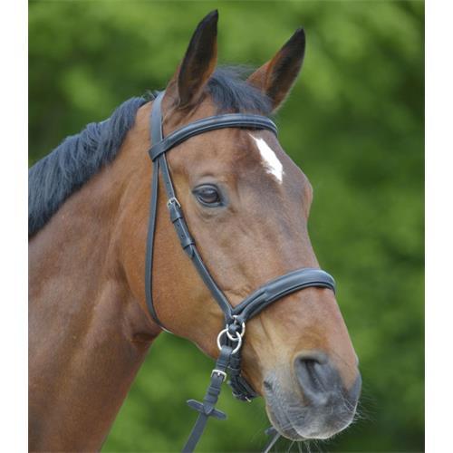 Kožená bezudidlová uzdečka ELT, černá - vel. Pony Bezudidlová uzdečka pro koně Waldhausen, černá