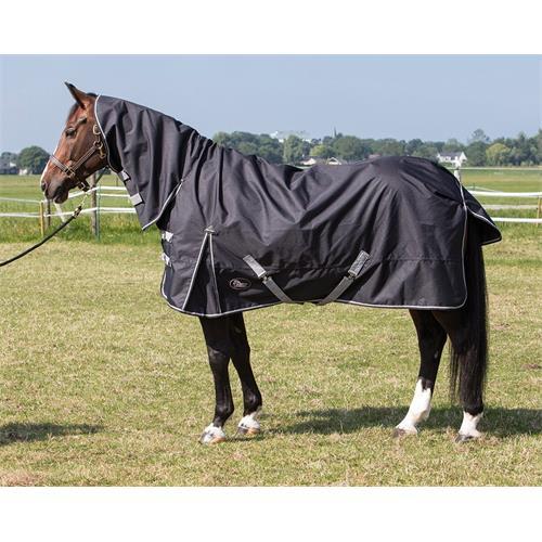 Nepromokavá deka s krkem Harrys Horse 0 gr, černá - vel. 165 cm Deka neprom. s krkem HH, černá