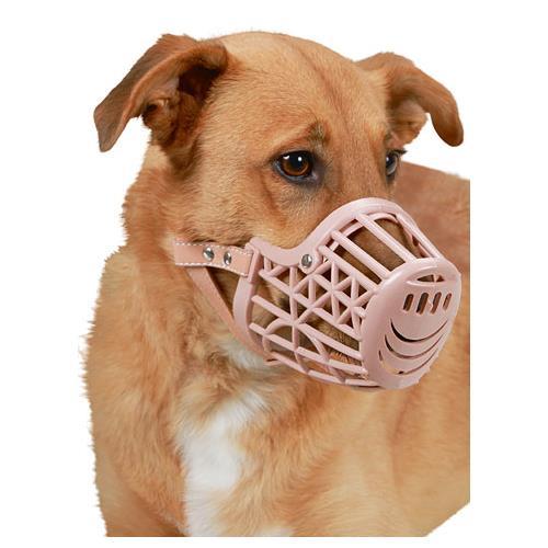 Plastový náhubek pro psy, béžový - obvod 18 cm Náhubek pro psy, plastový, obvod čenichu 18 cm