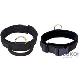 Obojek pro psy s úchopem, černý - 48 - 56 cm