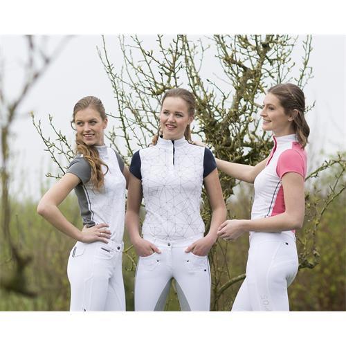 Dámské závodní triko QHP Lexi - modro-bílé, vel. 40 Triko dámské QHP Lexi, modro-bílé