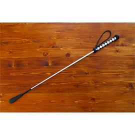 Kožený bič Small Paul, ručně šitý, hladký - bílo-černý, 75 cm