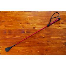 Kožený bič Small Paul, ručně šitý, hladký - červeno-černý, 75 cm
