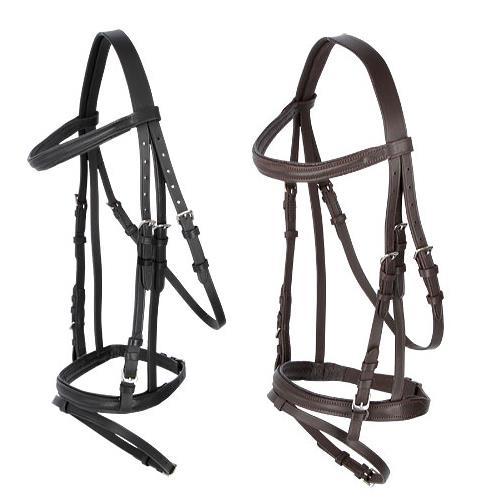 Kožená uzdečka Kerbl, černá/hnědá - černá, vel. Cob Uzdečka pro koně podložená + otěže, černá, vel. Cob