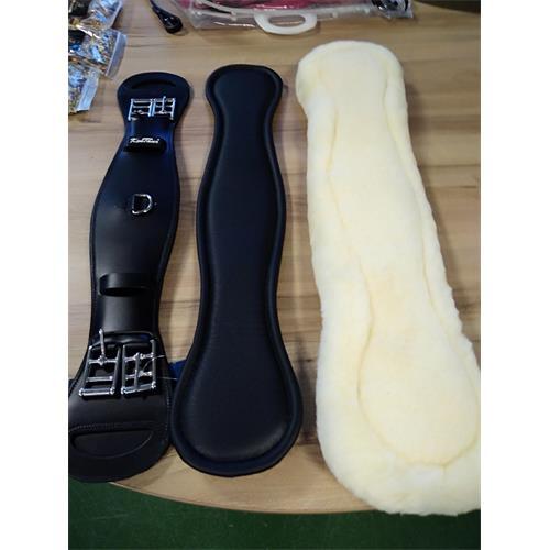 Drezurní kožený podbřišník Kentaur Grand Prix, černý s beránkem - délka 60 cm Podbřišník drez.Grand Prix, černý s beránkem, 60cm