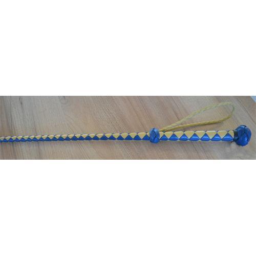 Kožený bič Small Paul, pletený, bez poutka, - žluto-modrý, 75 cm Bič Small Paul pletený, žluto-modrý, 75 cm
