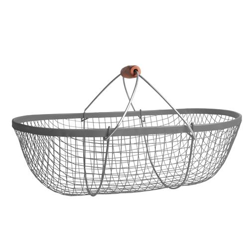 Košík z galvanizované ocele s dřevěnou rukojetí, 15 l Košík s dřevěnou rukojetí, 15 l