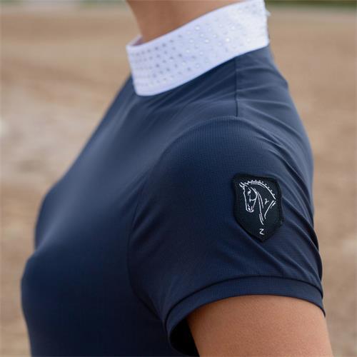 Dámské závodní triko Horze Mirielle - modro-černé, vel. 42 Triko dámské Horze Mirielle, modro-černé, vel. 42