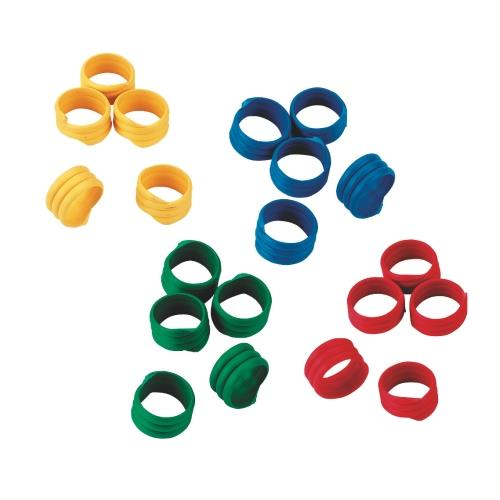 Spirálové rozlišovací kroužky na slepice 25 mm - žluté Kroužky spirálové pro drůbež 25mm