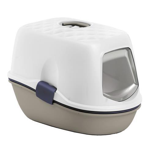 Krytý kočičí záchod 3 v 1 Furba, 59x39x42 cm. Krytá toaleta pro kočky Furba - barva béžovo - hnědá