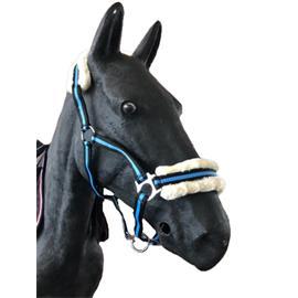 Nylonová ohlávka Ekkia s beránkem - černo-modrá, vel. Pony