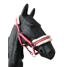 Nylonová ohlávka Ekkia s beránkem - červeno-šedá, vel. Pony