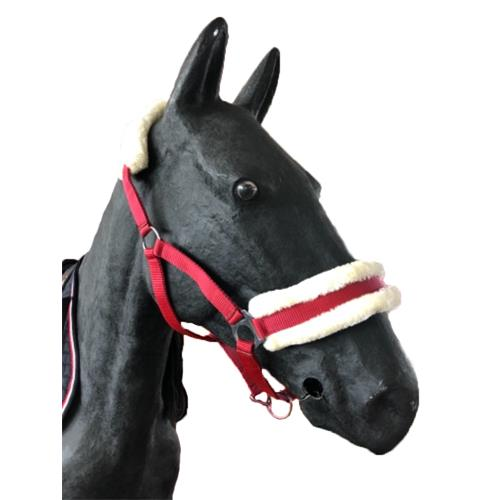 Nylonová ohlávka Ekkia s beránkem - cherry, vel. Pony Ohlávka 2xpodl. ber Ekkia, cherry, vel. Pony