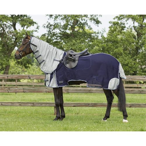 Vyjížďková deka proti hmyzu QHP s krkem, modro-šedá - vel. 115 cm Deka proti hmyzu QHP, vyjíždková, vel. 115 cm