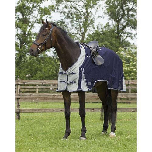 Vyjížďková deka proti hmyzu QHP s krkem, modro-šedá - vel. 125 cm Deka proti hmyzu QHP, vyjíždková, vel. 125 cm
